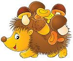 32172-clipart-illustration-of-acorns-and-mushrooms-stuck-to-a-hedgehog1